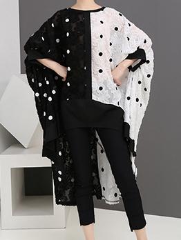 Summer Loose Contrast Color Polka Dots Dresses