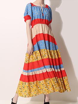 Summer Colorful Floral Short Sleeve Midi Dresses