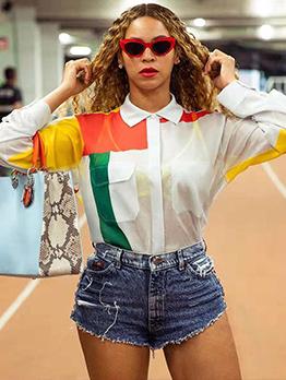 Euro Turndown Collar Color Block Women Blouses