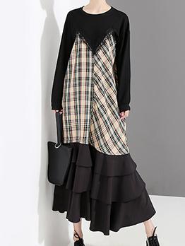 Fashion Plaid Patchwork Ruffled Long Sleeve Dress