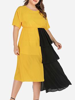 Chic Contrast Color Layered AsymmetryMidi Dresses
