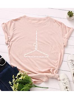 Hangers Printing Short Sleeve Plus Size Tee