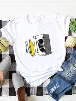 Bananas Printed Plus Size Short Sleeve T-shirt