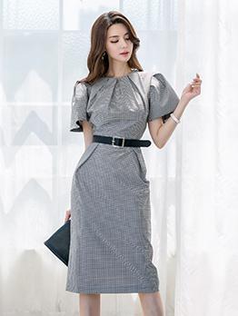 Ol Style Plaid Short Sleeve Dress With Belt