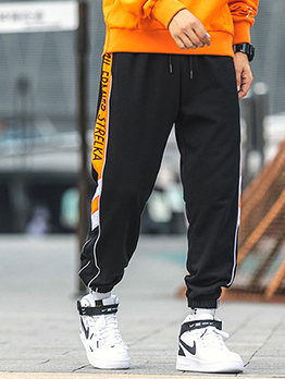 Leisure Contrast Color Letter Drawstring Mens Pants