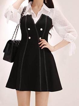 Fashion Patchwork Turndown Collar Long Sleeve Dress