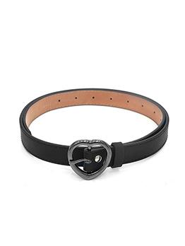 Metal Heart Buckle Women Wide Leather Belt