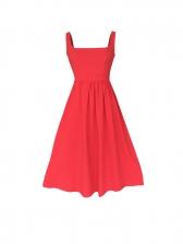 Euro Square Neck Solid Color Strap Midi Dress
