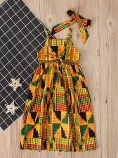 Bohemian Printed Shoulder Straps Girls Summer Dresses