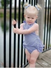 Halter Striped Off Shoulder Baby Girl Rompers