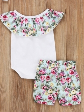 Summer Ruffled Neck Floral Patchwork Baby Set