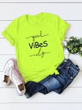 Round Collar Letter Women Short Sleeve T-Shirt