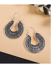Ethnic Style Solid Silver Plated Round Earrings