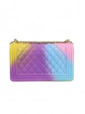 Iridescent Color Hasp Plaid Beautiful Shoulder Bag