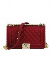 Solid Diamond Pattern Large Size Ladies Crossbody Bags