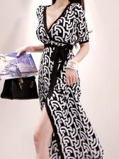 V Neck Tie Wrap Short Sleeve Dress
