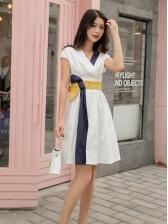 Contrast Color V Neck Tie Wrap Short Sleeve Dress