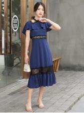 Hollow Out Lace Patchwork High Waist Ruffled Dress