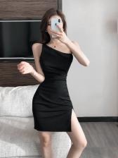 One Shoulder Solid Hollow Split Dress