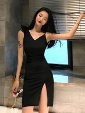 Tie Shoulder High Split Black Dress