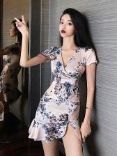 V Neck Printed Ruffle Hem Short Sleeve Dress