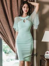 Ladies Patchwork Tulle Sleeve Knee Length Dress