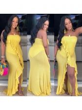 Solid Color Ruffles Irregular Hem Strapless Maxi Dress