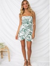 Plants Print Ruffles Hem Spaghetti Straps Dress