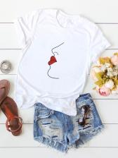Abstract Figure Design Cotton Short Sleeve Tee