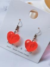 Fashion Red Heart Shape Eardrop For Women