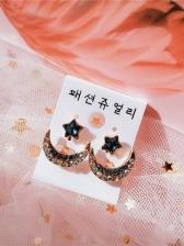 Fashion Star Moon Rhinestone Stud Earrings