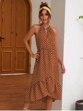 Summer Off Shoulder Polka Dots Midi Dress