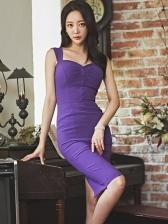 Sweet-Heart Neck Purple Bodycon Dress