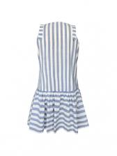 Deep V Neck Striped Sleeveless Dress