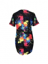 Ink-Splashing Printing Casual T-Shirt Dress