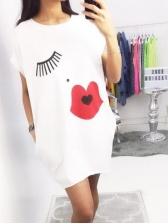 Crew Neck Printed Short Sleeve Dress