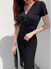 Fitted v Neck Short Sleeve Bodycon Dresses