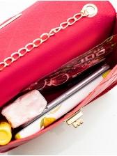 Solid Color Twist Lock Rhombus Chain Bag