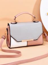 Contrast Color Patchwork Pu Shoulder Bag With Handle