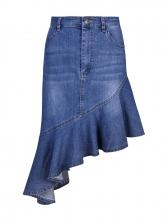 High Waist Ruffled Hem Irregular Denim Skirt