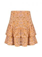 Vacation High Waist Floral Print Ruffled Skirt