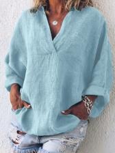 European Design V Collar Long Sleeves Ladies Blouse
