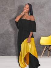 Off Shoulder Contrast Color Pleated Maxi Dresses