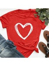 Casual Heart Printed Short Sleeve Tee