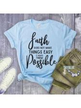 Casual Letter Short Sleeve T-Shirt For Women