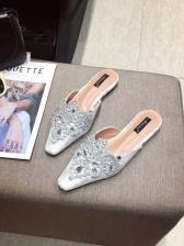 Rhinestone Patchwork Flat Mule Slipper For Women