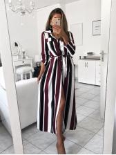Contrast Color Striped Split Women Shirt Dresses