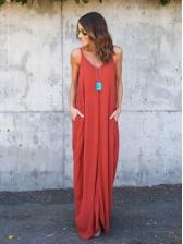 Solid Pockets v Neck Straps Maxi Dresses