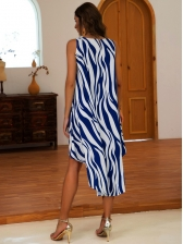 Summer Contrast Color Animal Printed Sleeveless Dresses