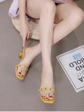 Summer Rivet Patchwork Clear Heeled Women Slipper